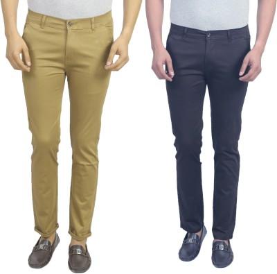 Masterly Weft Slim Fit Men's Beige, Dark Blue Trousers