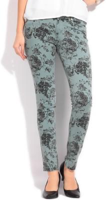 Elle Skinny Fit Women's Green Trousers