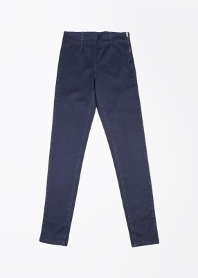 United Colors of Benetton Slim Fit Women's Blue Trousers at flipkart