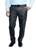 Routeen Slim Fit Men's Black Trousers
