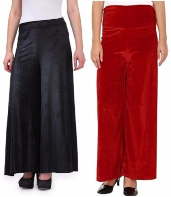 Viba London Regular Fit Women's Black, Maroon Trousers