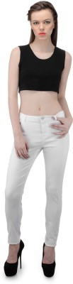 FIBRE WORLD Slim Fit Women's White Trousers