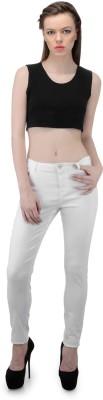 FIBRE WORLD Slim Fit Women,s White Trousers
