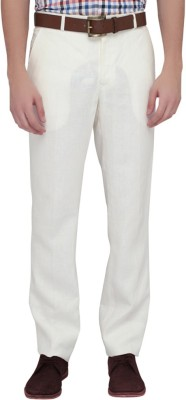 JB Studio Slim Fit Men's Linen White Trousers