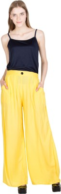 CURVYY Regular Fit Women's Yellow Trousers
