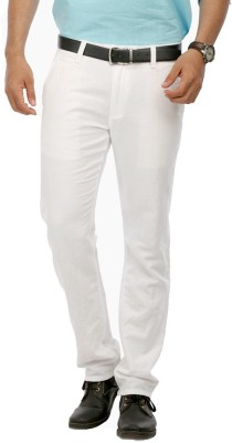 RICH PERK Slim Fit Men's Linen White, White Trousers