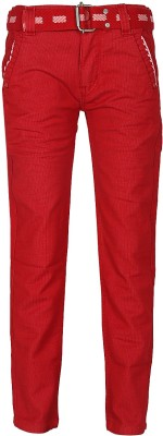 Generationext Regular Fit Baby Boy's Red Trousers