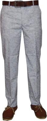 Le-Meiux Slim Fit Men's Linen Blue Trousers