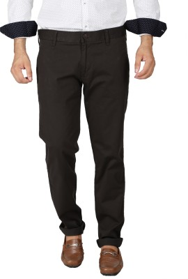 Easies Slim Fit Men's Brown Trousers