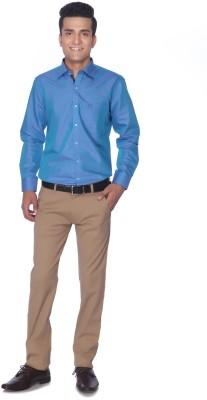 Silver Leaf Slim Fit Men's Brown Trousers