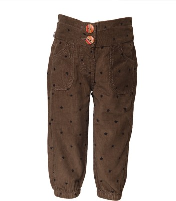 Tales & Stories Regular Fit Girl,s Brown Trousers