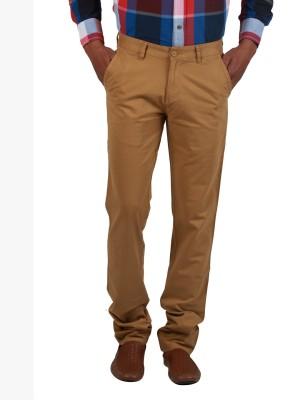 Cotton colors Slim Fit Men's Beige Trousers