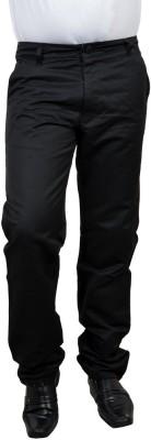 Risingfeathertofly Slim Fit Men's Black Trousers