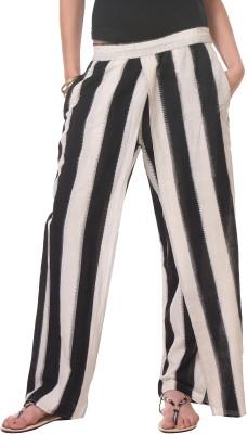 Oghaindia Regular Fit Women's White, Black Trousers