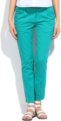 Flying Machine Slim Fit Women's Green Trousers