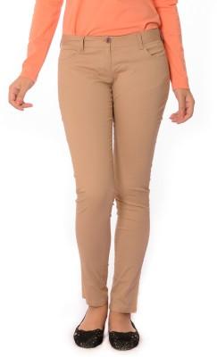 Oviya Skinny Fit Women's Beige Trousers