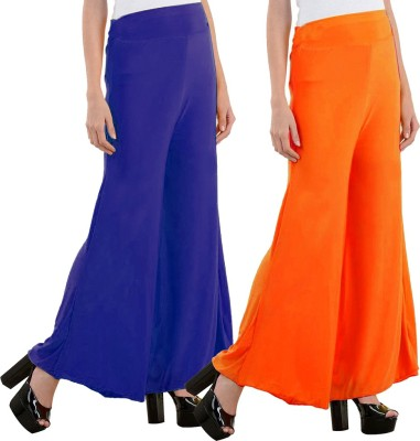 Aadhar Creations Regular Fit Women's Linen Blue, Orange Trousers