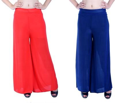 Ajaero Regular Fit Women's Red, Dark Blue Trousers