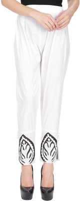 AliColours Slim Fit Women's White Trousers