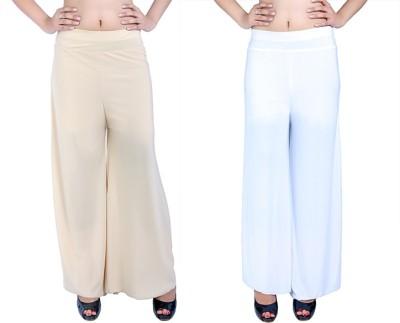 Ajaero Regular Fit Women's Gold, White Trousers