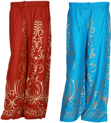 SAANKHYA Regular Fit Women's Red, Blue Trousers