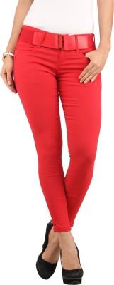 Lotus Slim Fit Women's Red Trousers