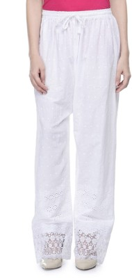 Stay Blessed Regular Fit Women's White Trousers