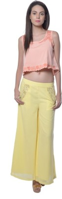 Holidae Regular Fit Women,s Yellow Trousers