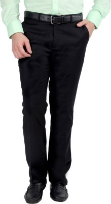 Jhampstead Regular Fit Men's Black Trousers