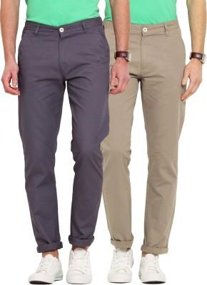 Ennoble Slim Fit Men's Beige, Grey Trousers