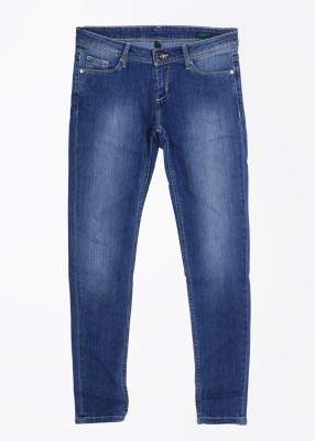 United Colors of Benetton Skinny Fit Women's Blue Trousers at flipkart