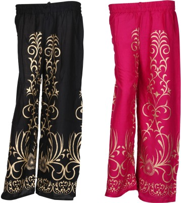 SAANKHYA Regular Fit Women's Black, Pink Trousers