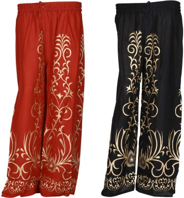 SAANKHYA Regular Fit Women's Black, Red Trousers