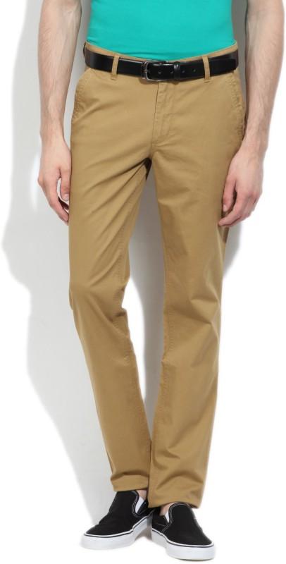 John Players Slim Fit Men's Beige Trousers