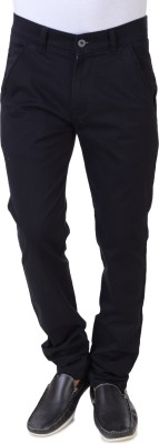 Threads 12 Slim Fit Men's Black Trousers