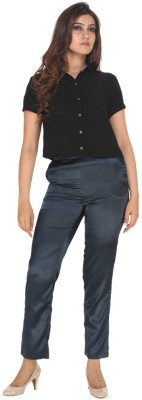 Fast n Fashion Regular Fit Women's Black, Blue Trousers at flipkart