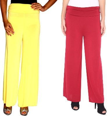 Zadine Regular Fit Women,s Yellow, Red Trousers