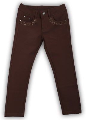 Lilliput Regular Fit Girl's Brown Trousers