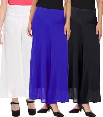 La Verite Regular Fit Women's Black, White, Blue Trousers