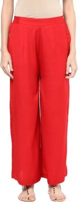 Indibox Regular Fit Women's Red Trousers at flipkart