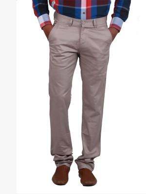 Cotton colors Slim Fit Men's Grey Trousers