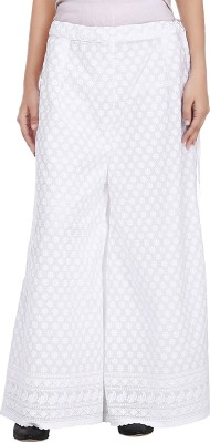 Pink n Lime Regular Fit Women's White Trousers