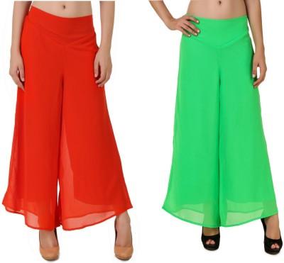 CHIKFAB Regular Fit Women's Orange, Green Trousers