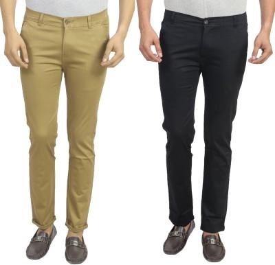 Masterly Weft Slim Fit Men's Beige, Black Trousers