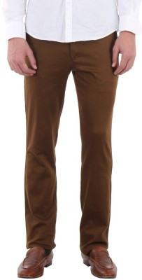 Routeen Slim Fit Men,s Gold Trousers