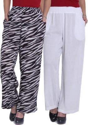 Studio West Regular Fit Women,s White, Black Trousers