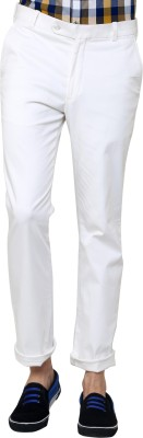 See Designs Regular Fit Men's White Trousers