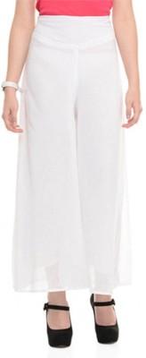 feminine Regular Fit Women's White Trousers