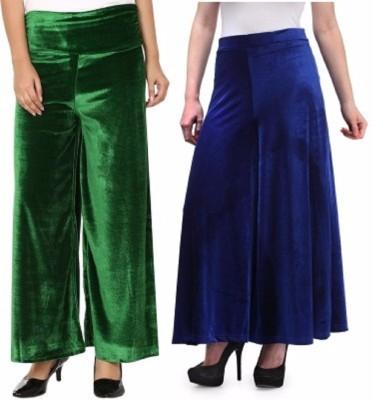Viba London Regular Fit Women's Green, Blue Trousers