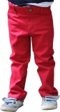 Snowflakes Regular Fit Boys Red Trousers